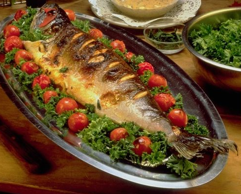 صينية سمك قشر بياض فى الفرن